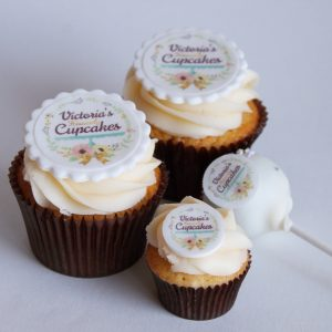 Branded cupcakes, mini cupcakes and cake pops